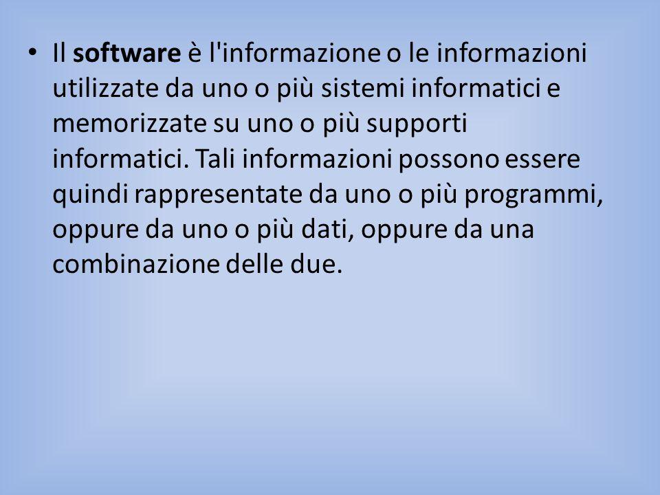 Il software è l informazione o le informazioni utilizzate da uno o più sistemi informatici e memorizzate su uno o più supporti informatici.