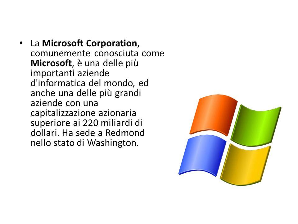La Microsoft Corporation, comunemente conosciuta come Microsoft, è una delle più importanti aziende d informatica del mondo, ed anche una delle più grandi aziende con una capitalizzazione azionaria superiore ai 220 miliardi di dollari.