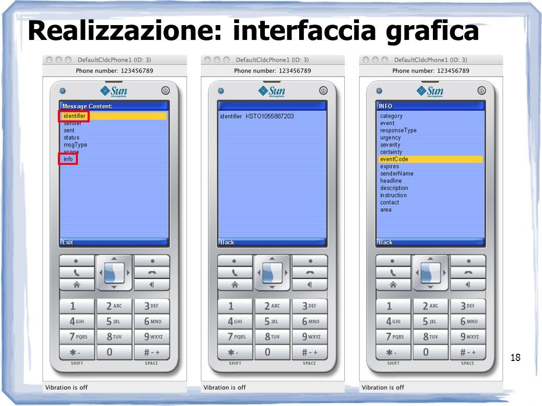 Realizzazione: interfaccia grafica