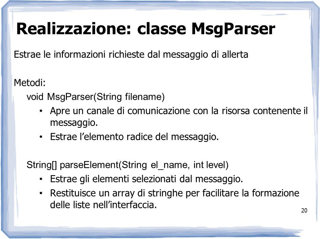 Realizzazione: classe MsgParser