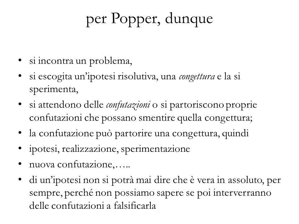 per Popper, dunque si incontra un problema,