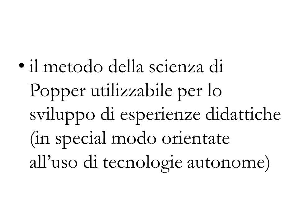 il metodo della scienza di Popper utilizzabile per lo sviluppo di esperienze didattiche (in special modo orientate all'uso di tecnologie autonome)
