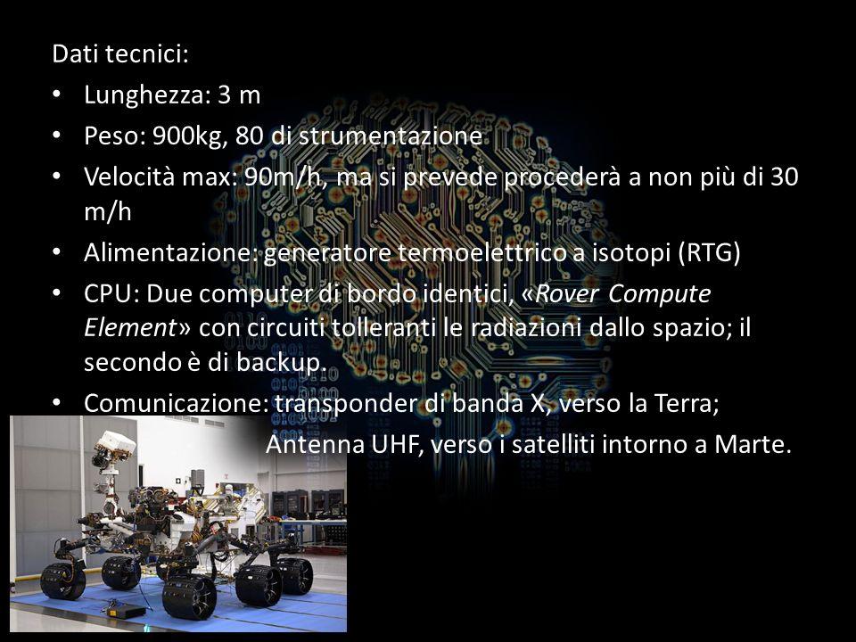 Dati tecnici: Lunghezza: 3 m. Peso: 900kg, 80 di strumentazione. Velocità max: 90m/h, ma si prevede procederà a non più di 30 m/h.