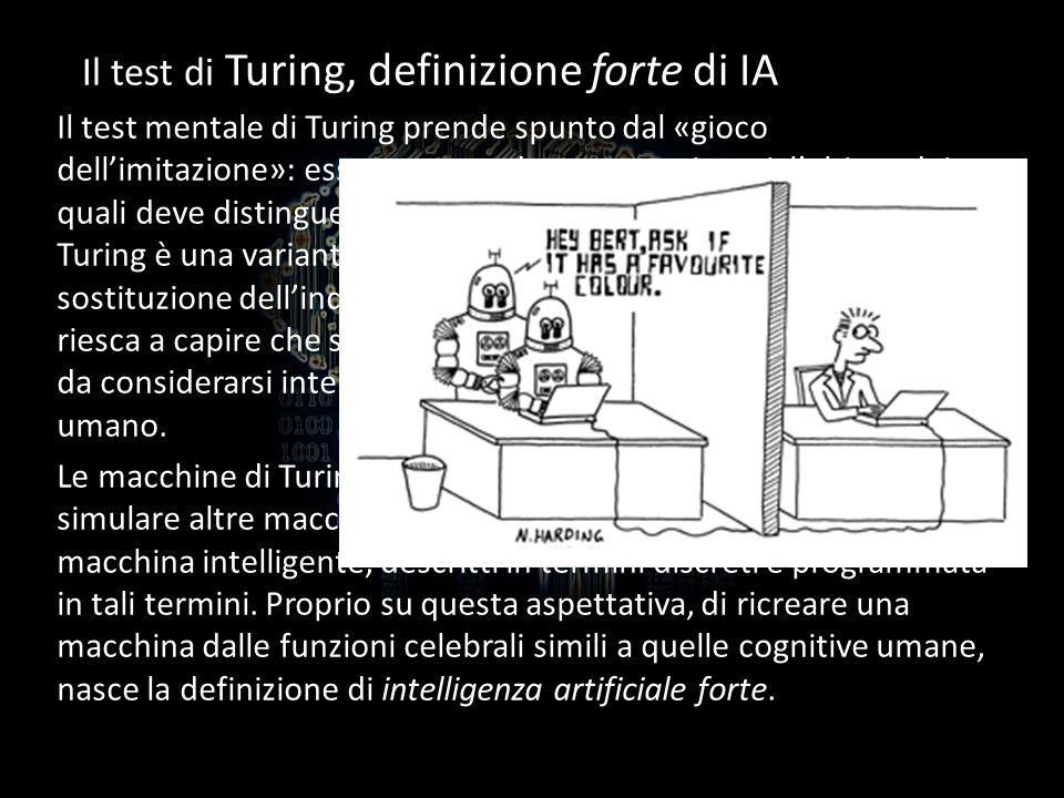 Il test di Turing, definizione forte di IA