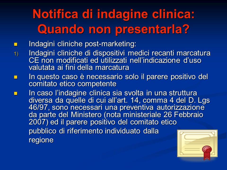 Notifica di indagine clinica: Quando non presentarla