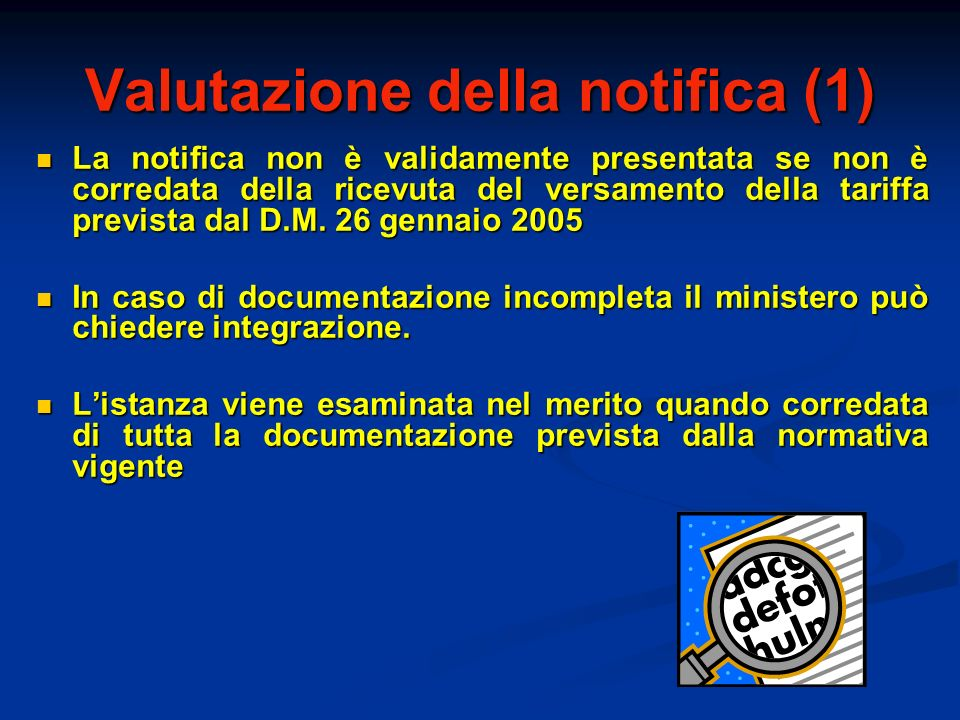Valutazione della notifica (1)