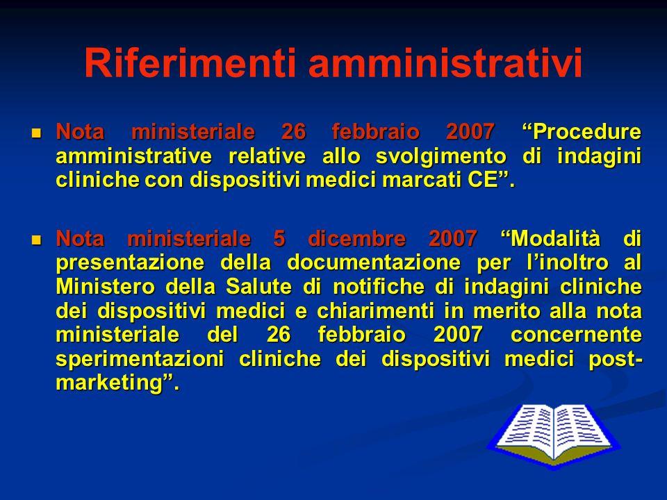Riferimenti amministrativi