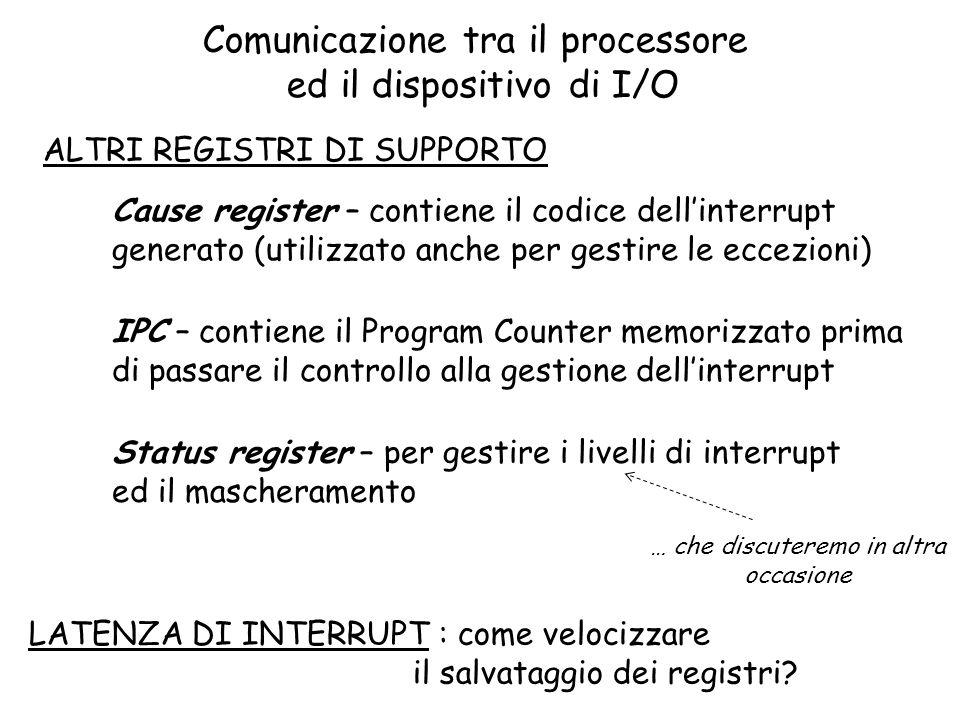 Comunicazione tra il processore ed il dispositivo di I/O