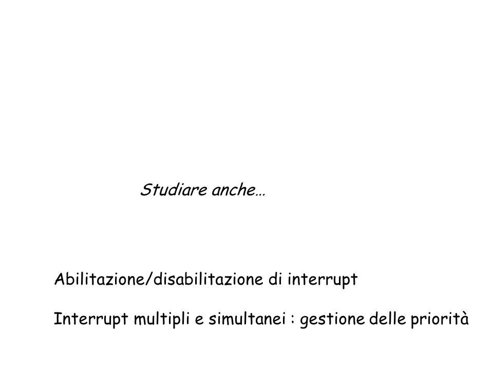 Studiare anche… Abilitazione/disabilitazione di interrupt.