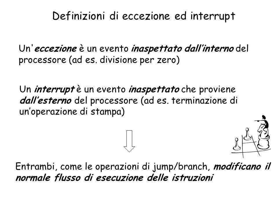 Definizioni di eccezione ed interrupt