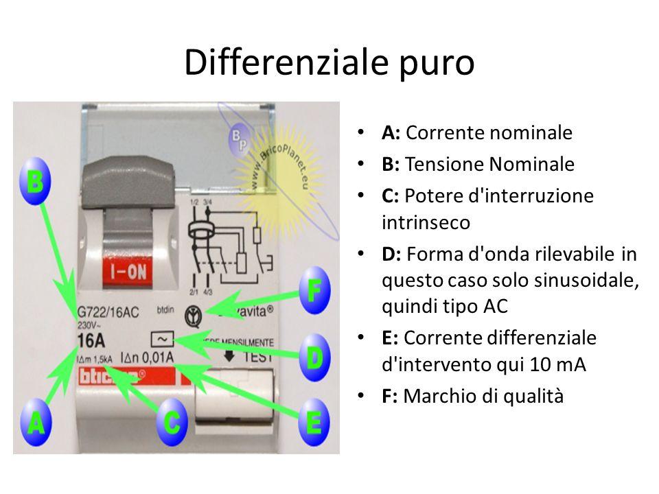 Differenziale puro A: Corrente nominale B: Tensione Nominale