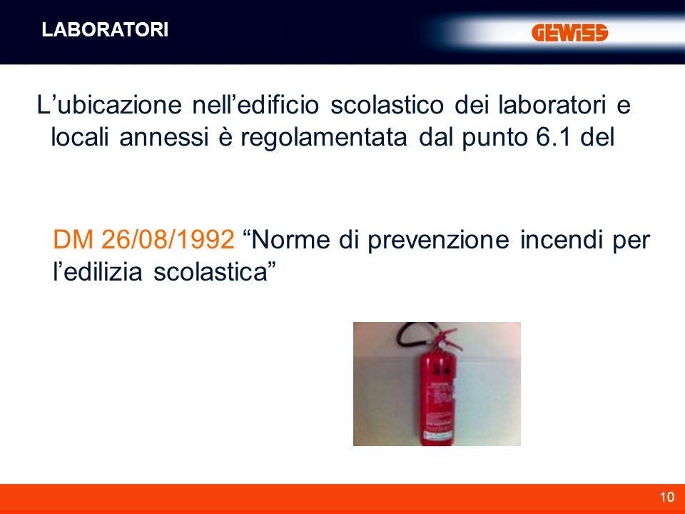 DM 26/08/1992 Norme di prevenzione incendi per l'edilizia scolastica