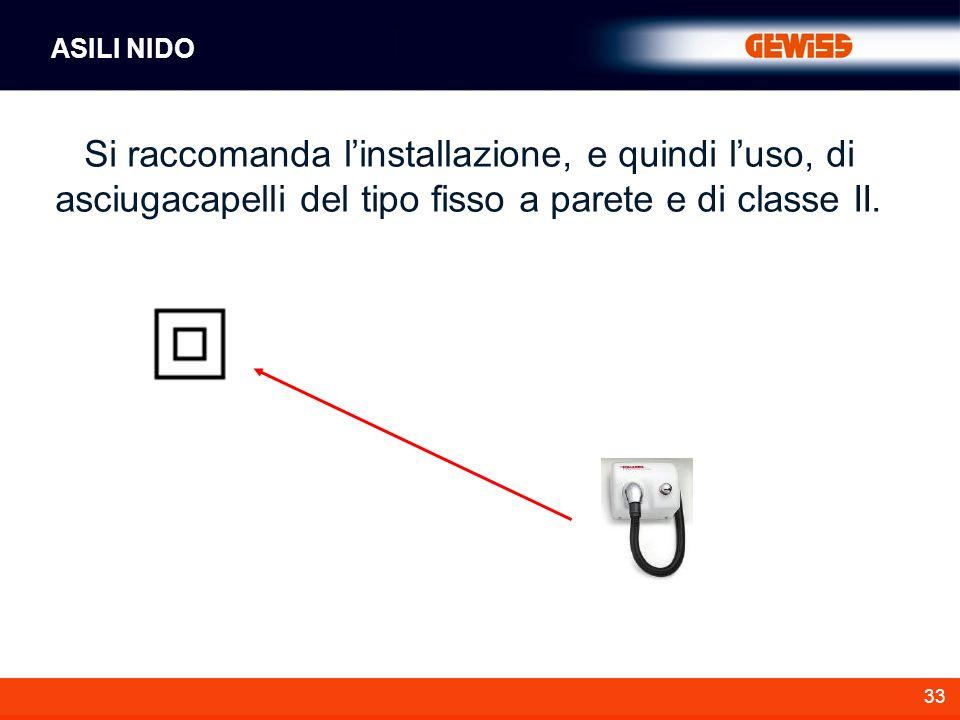 ASILI NIDO Si raccomanda l'installazione, e quindi l'uso, di asciugacapelli del tipo fisso a parete e di classe II.