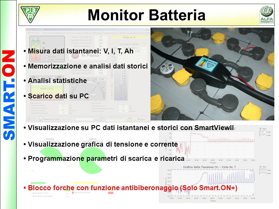 Monitor Batteria SMART.ON • Misura dati istantanei: V, I, T, Ah