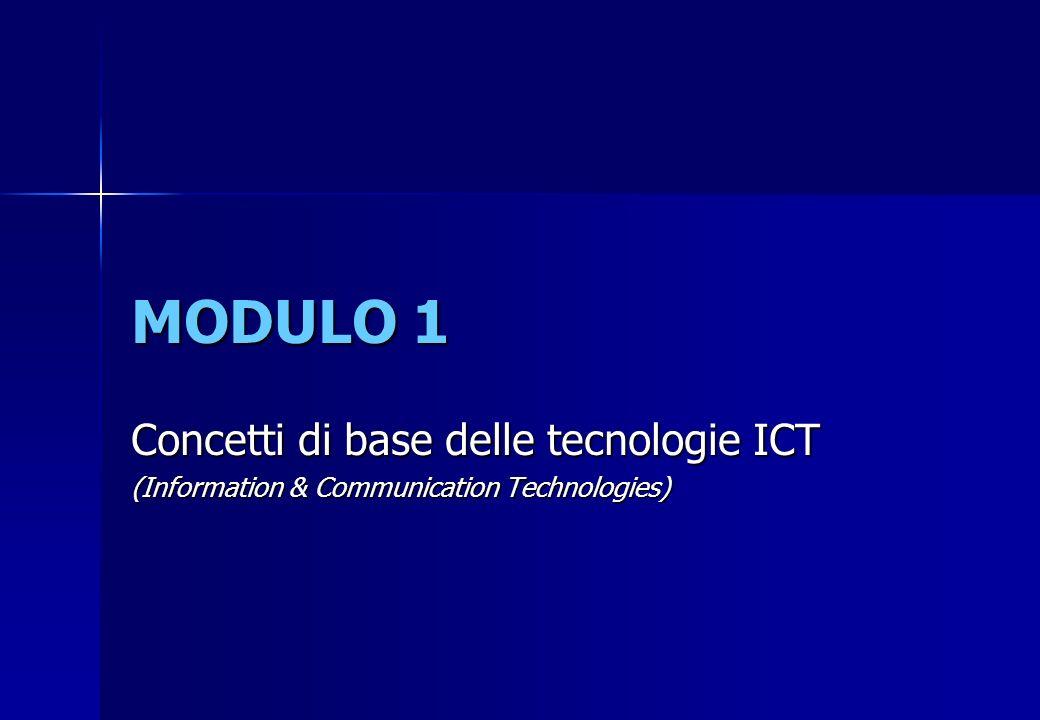MODULO 1 Concetti di base delle tecnologie ICT