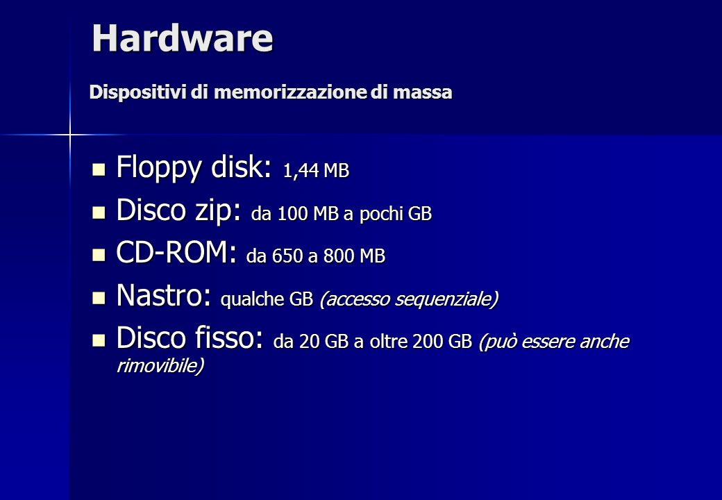 Hardware Floppy disk: 1,44 MB Disco zip: da 100 MB a pochi GB