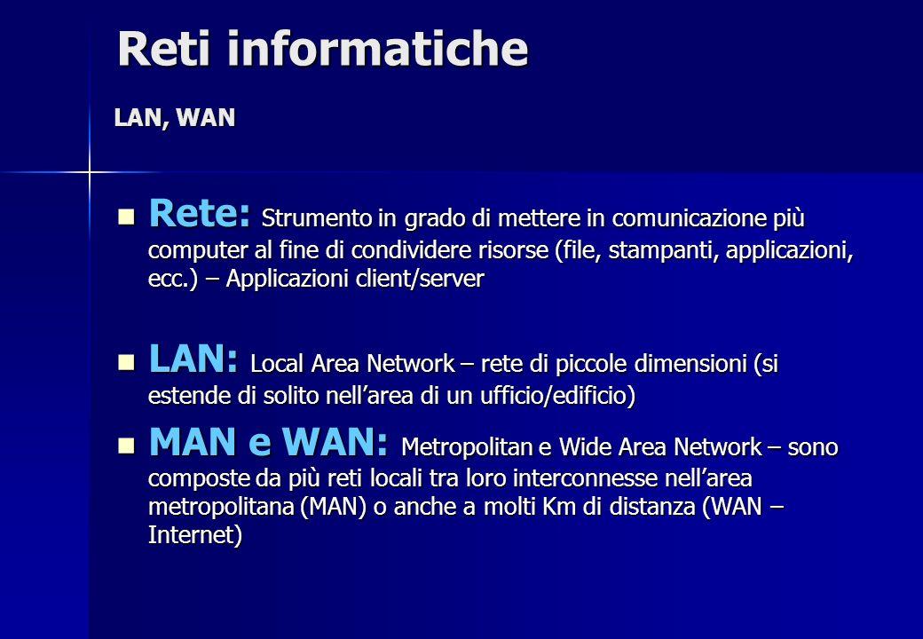 Reti informatiche LAN, WAN.