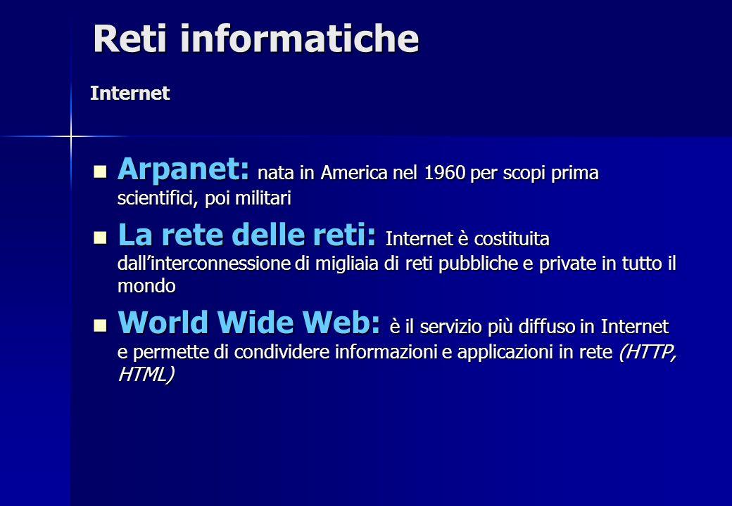 Reti informatiche Internet. Arpanet: nata in America nel 1960 per scopi prima scientifici, poi militari.