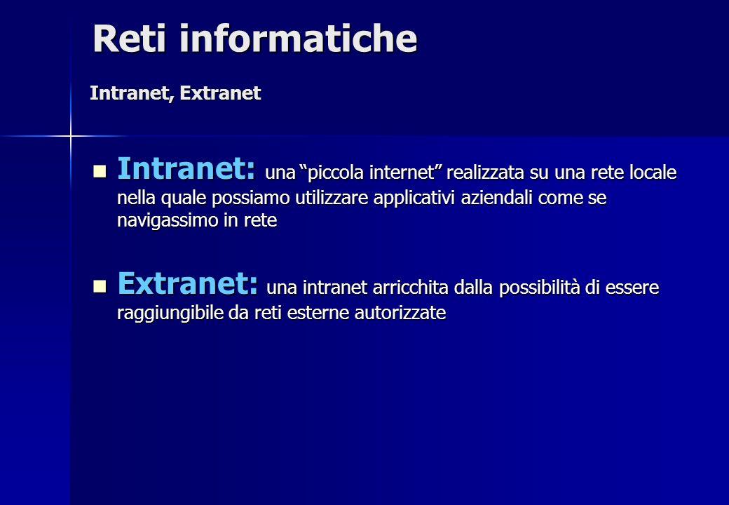 Reti informatiche Intranet, Extranet.