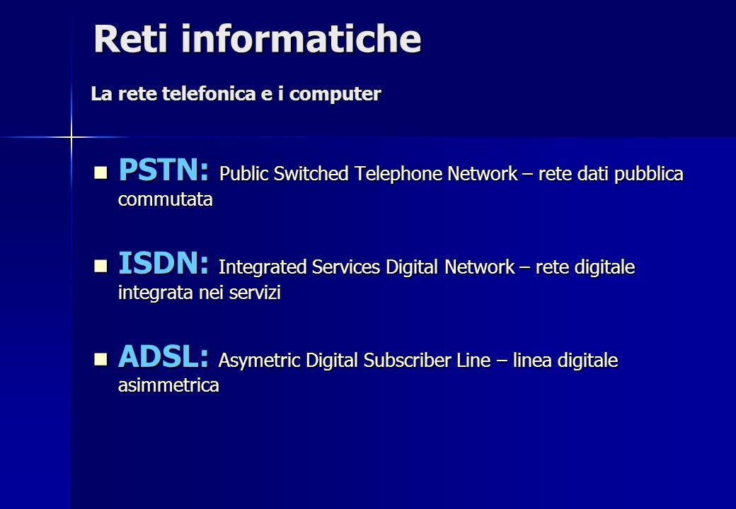 Reti informatiche La rete telefonica e i computer. PSTN: Public Switched Telephone Network – rete dati pubblica commutata.
