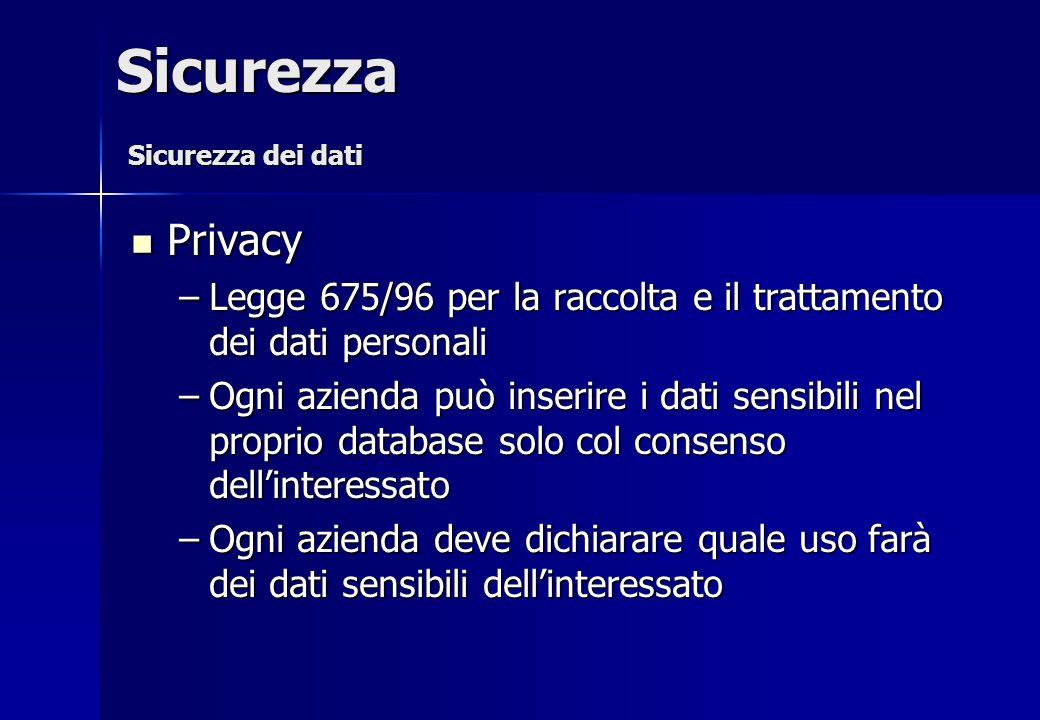Sicurezza Sicurezza dei dati. Privacy. Legge 675/96 per la raccolta e il trattamento dei dati personali.