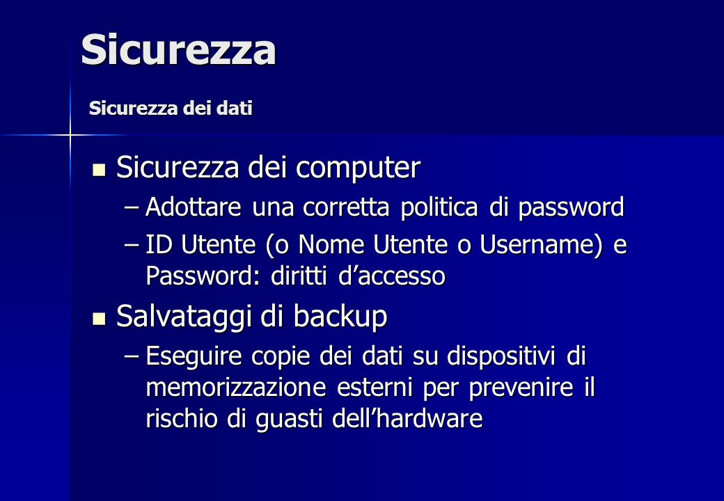 Sicurezza Sicurezza dei computer Salvataggi di backup