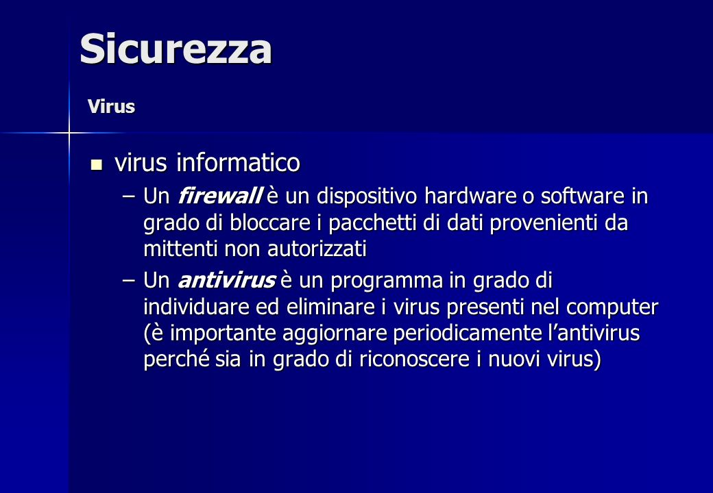 Sicurezza virus informatico