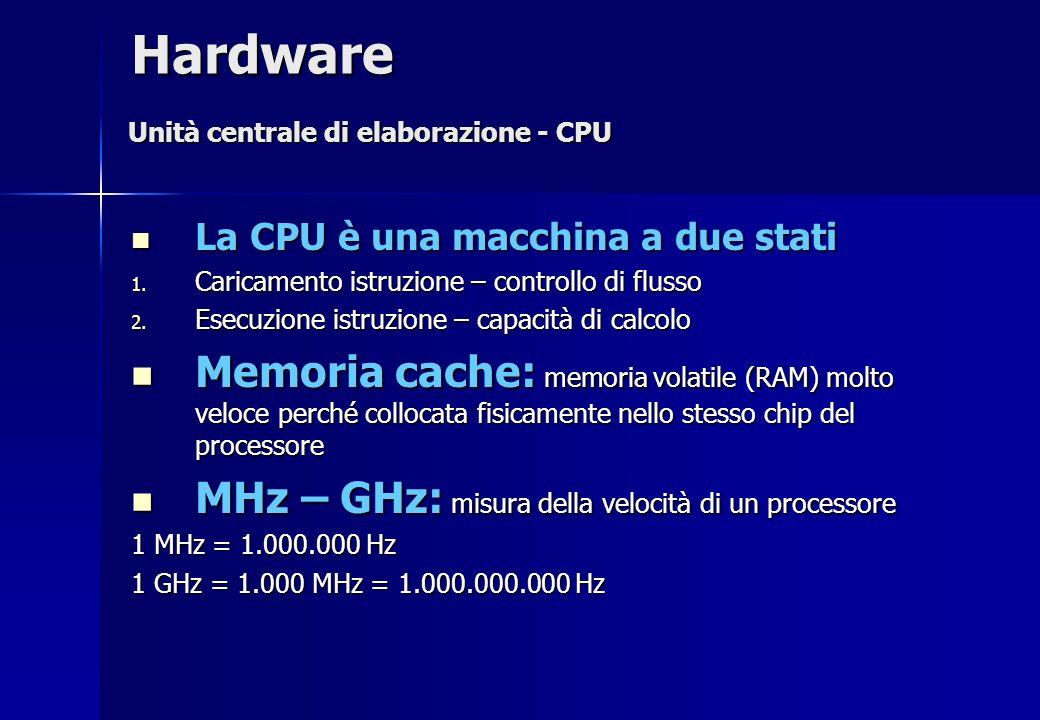 Hardware Unità centrale di elaborazione - CPU. La CPU è una macchina a due stati. Caricamento istruzione – controllo di flusso.