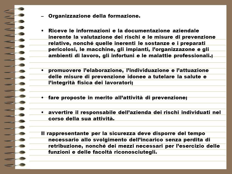 Organizzazione della formazione.