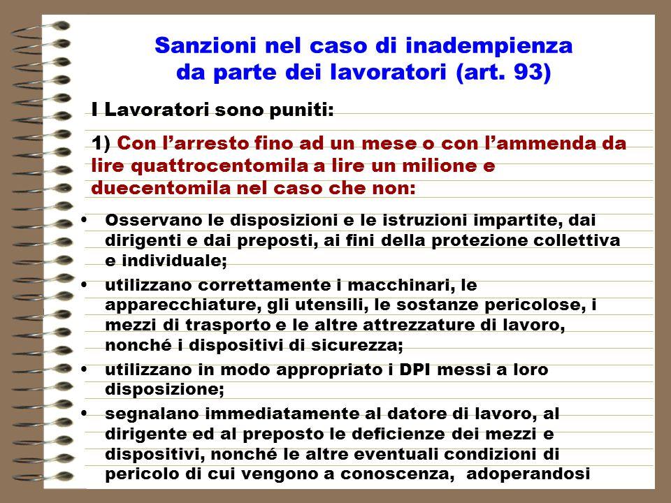Sanzioni nel caso di inadempienza da parte dei lavoratori (art. 93)