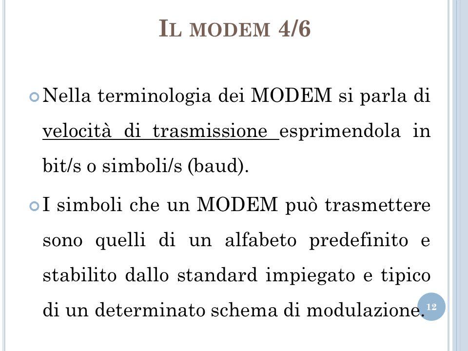 Il modem 4/6 Nella terminologia dei MODEM si parla di velocità di trasmissione esprimendola in bit/s o simboli/s (baud).