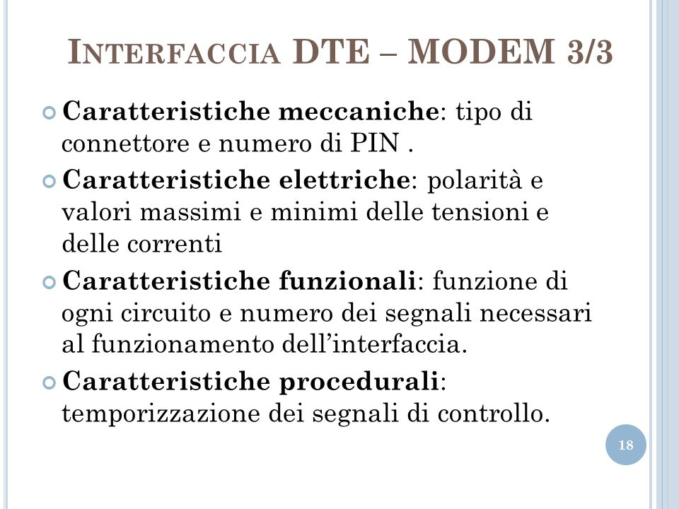 Interfaccia DTE – MODEM 3/3