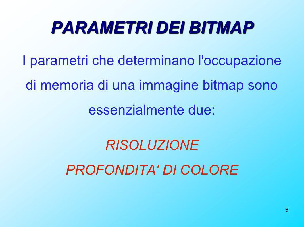 PARAMETRI DEI BITMAP I parametri che determinano l occupazione di memoria di una immagine bitmap sono essenzialmente due: