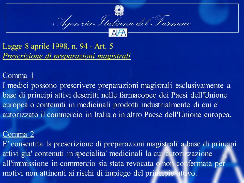 Legge 8 aprile 1998, n. 94 - Art. 5 Prescrizione di preparazioni magistrali. Comma 1.