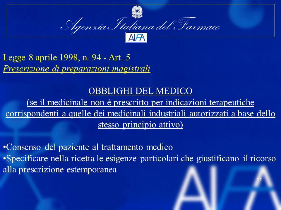 Legge 8 aprile 1998, n. 94 - Art. 5 Prescrizione di preparazioni magistrali. OBBLIGHI DEL MEDICO.