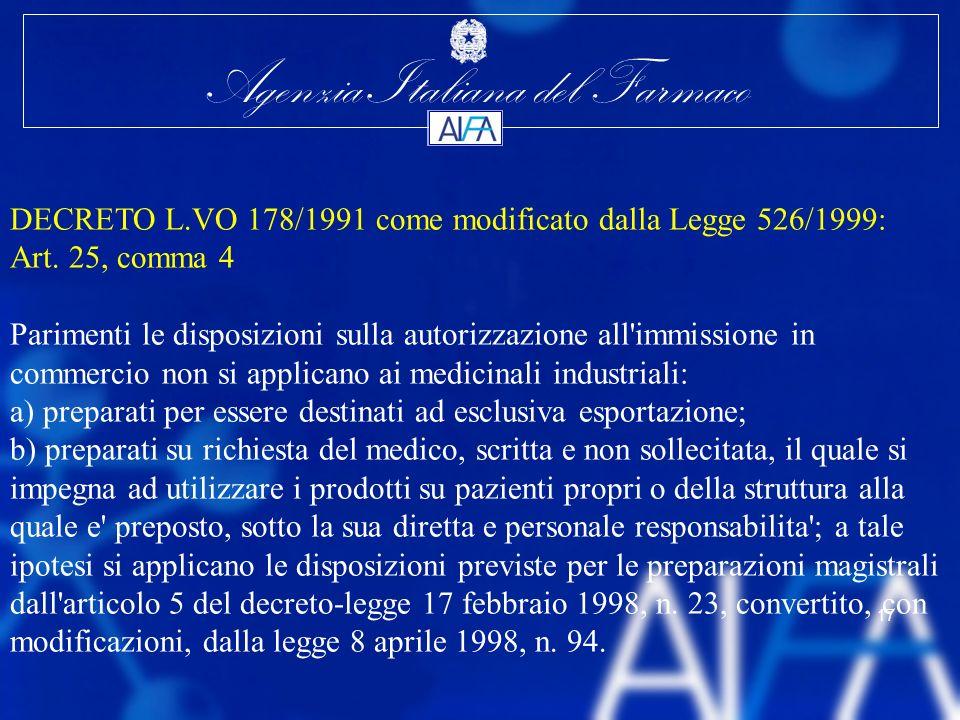 DECRETO L.VO 178/1991 come modificato dalla Legge 526/1999: