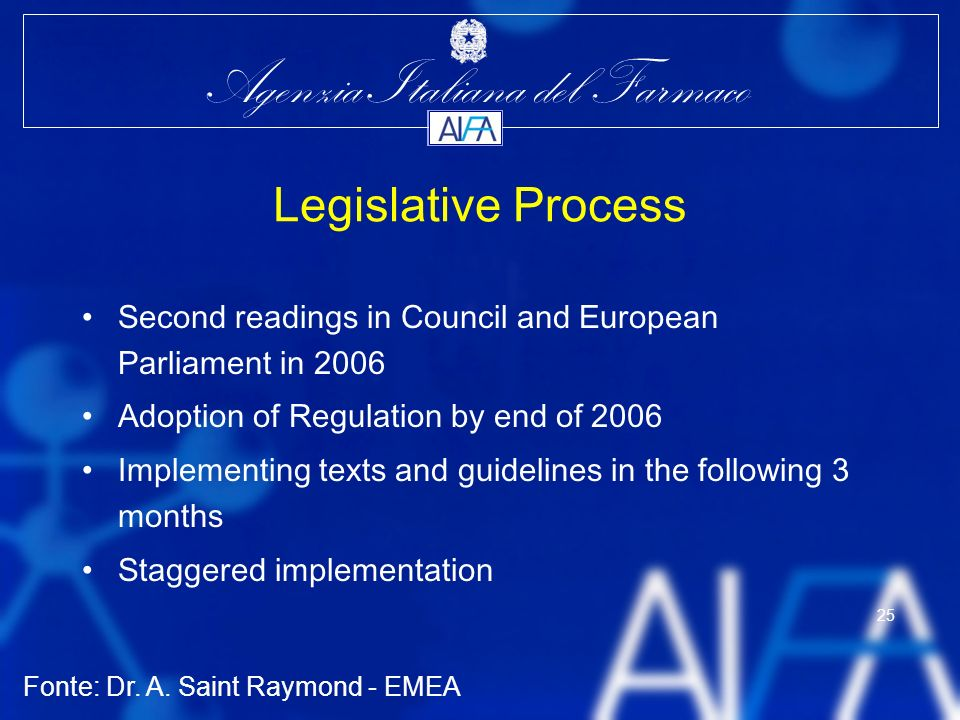 Legislative Process Second readings in Council and European Parliament in 2006. Adoption of Regulation by end of 2006.