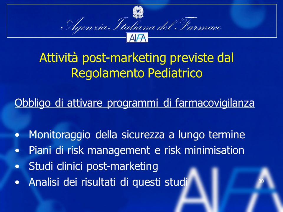 Attività post-marketing previste dal Regolamento Pediatrico