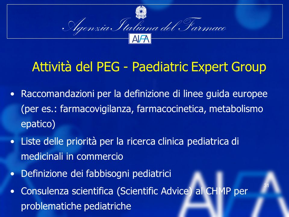 Attività del PEG - Paediatric Expert Group