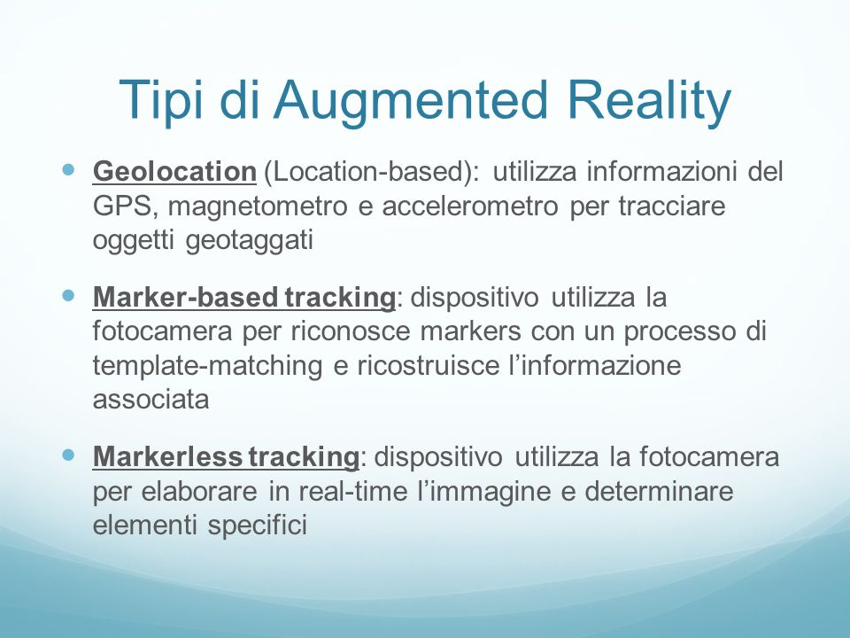 Tipi di Augmented Reality