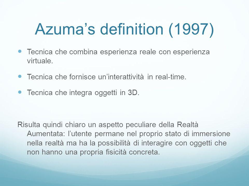 Azuma's definition (1997) Tecnica che combina esperienza reale con esperienza virtuale. Tecnica che fornisce un'interattività in real-time.