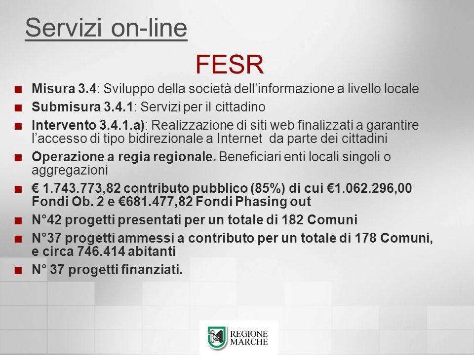 Servizi on-line FESR. Misura 3.4: Sviluppo della società dell'informazione a livello locale. Submisura 3.4.1: Servizi per il cittadino.