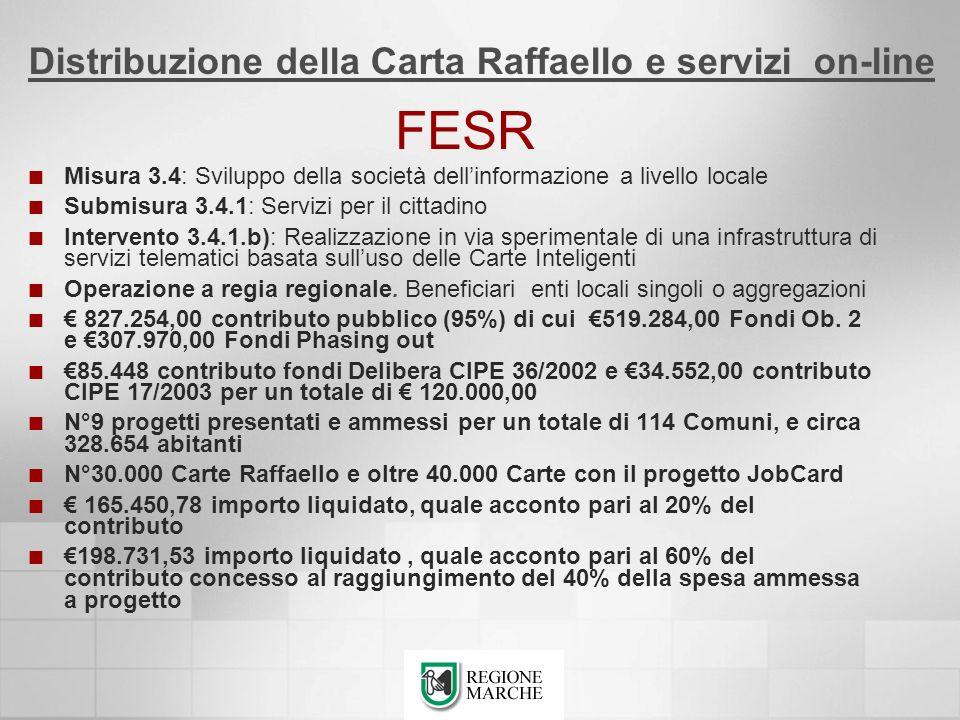 FESR Distribuzione della Carta Raffaello e servizi on-line