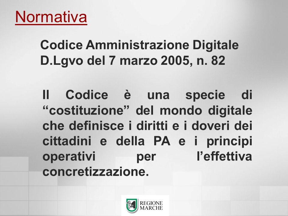 Normativa Codice Amministrazione Digitale D.Lgvo del 7 marzo 2005, n. 82.
