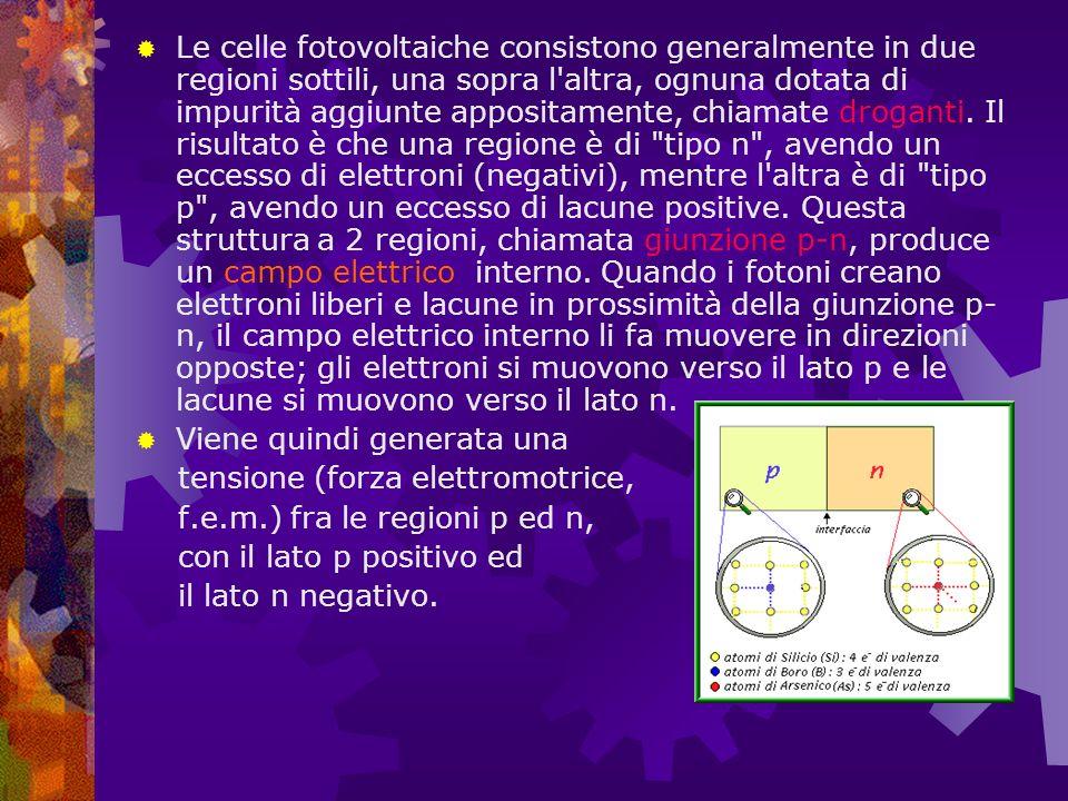 Le celle fotovoltaiche consistono generalmente in due regioni sottili, una sopra l altra, ognuna dotata di impurità aggiunte appositamente, chiamate droganti. Il risultato è che una regione è di tipo n , avendo un eccesso di elettroni (negativi), mentre l altra è di tipo p , avendo un eccesso di lacune positive. Questa struttura a 2 regioni, chiamata giunzione p-n, produce un campo elettrico interno. Quando i fotoni creano elettroni liberi e lacune in prossimità della giunzione p-n, il campo elettrico interno li fa muovere in direzioni opposte; gli elettroni si muovono verso il lato p e le lacune si muovono verso il lato n.