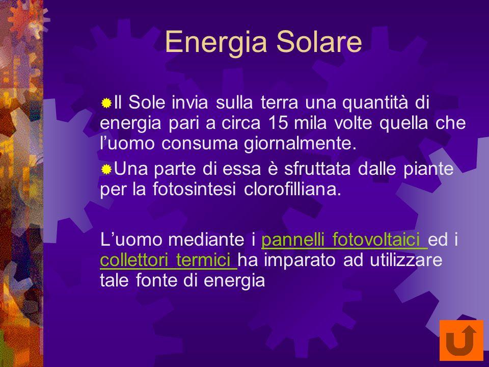 Energia Solare Il Sole invia sulla terra una quantità di energia pari a circa 15 mila volte quella che l'uomo consuma giornalmente.