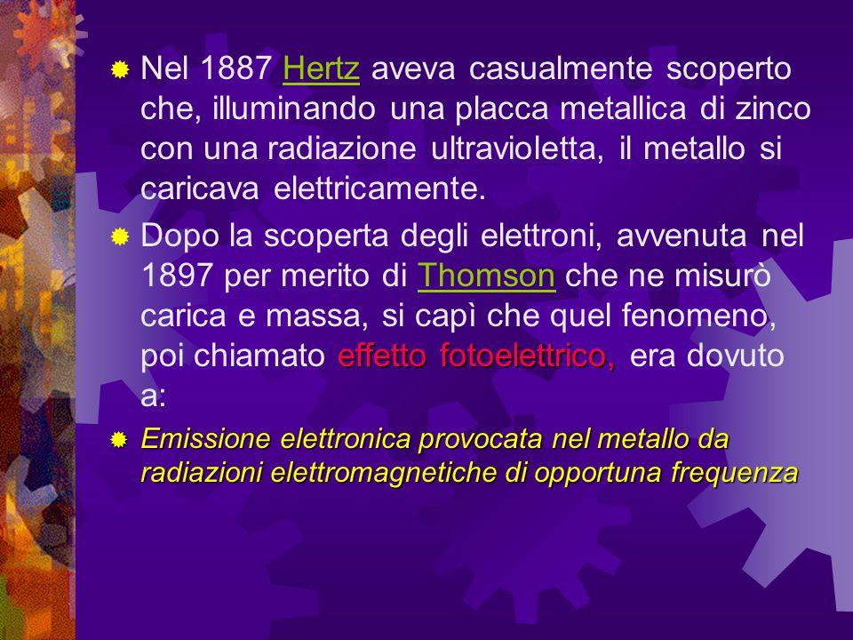 Nel 1887 Hertz aveva casualmente scoperto che, illuminando una placca metallica di zinco con una radiazione ultravioletta, il metallo si caricava elettricamente.