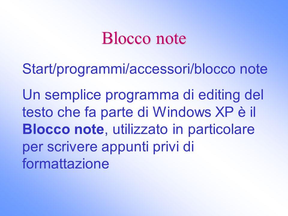Blocco note Start/programmi/accessori/blocco note