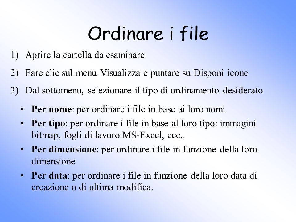 Ordinare i file 1) Aprire la cartella da esaminare
