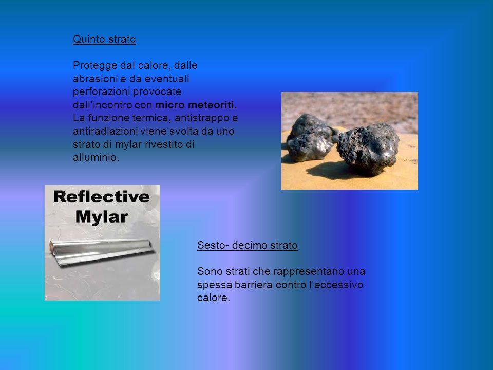 Quinto strato Protegge dal calore, dalle abrasioni e da eventuali perforazioni provocate dall'incontro con micro meteoriti.